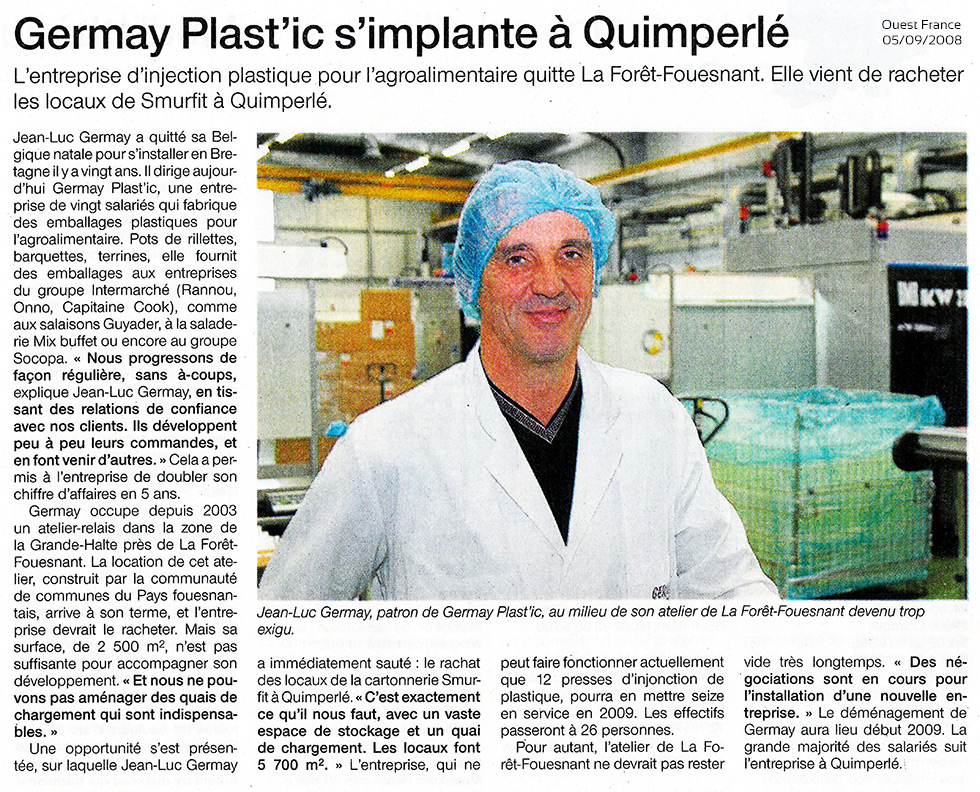 GERMAY Plast'IC - Ouest France 05-09-2008